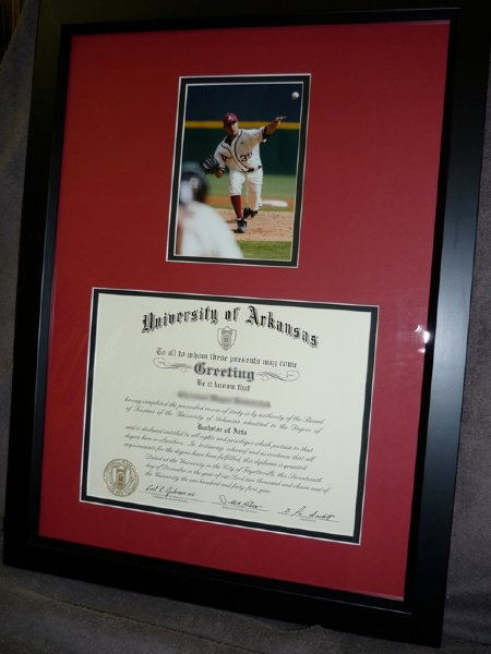 Custom framed degree with special section