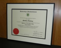 Custom framed degree