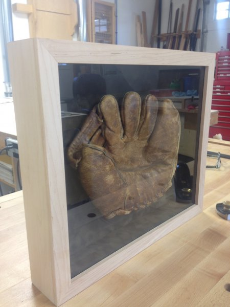 Custom shadow box framed baseball glove