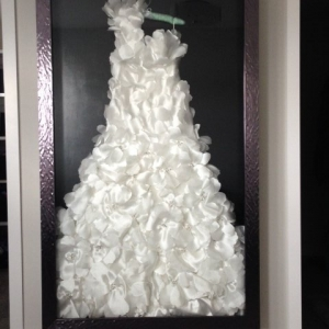 Custom framed wedding dress shadow box